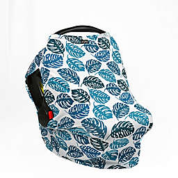 UPF 50+ Car Seat Cover with Side Vents in Blue/White Palm Leaf