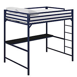 EveryRoom Mason Metal Full Loft Bed with Desk in Blue