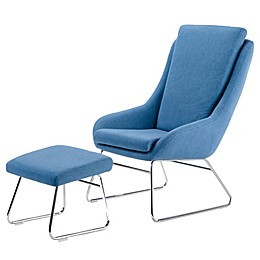 Simpli Home Carwyn Accent Chair with Footstool