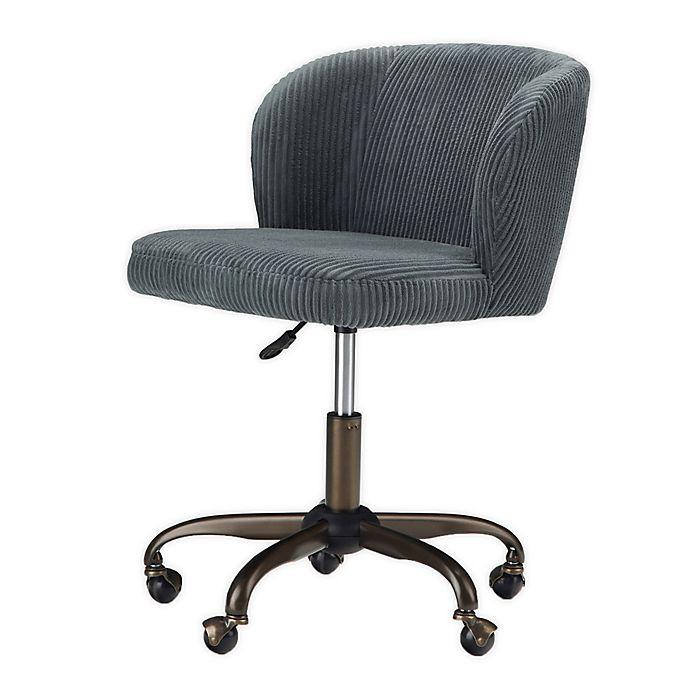 Alternate image 1 for Simpli Home® Sheehan Corduroy Swivel Office Chair in Grey