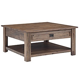 Simpli Home Monroe Square Coffee Table in Natural Aged Brown