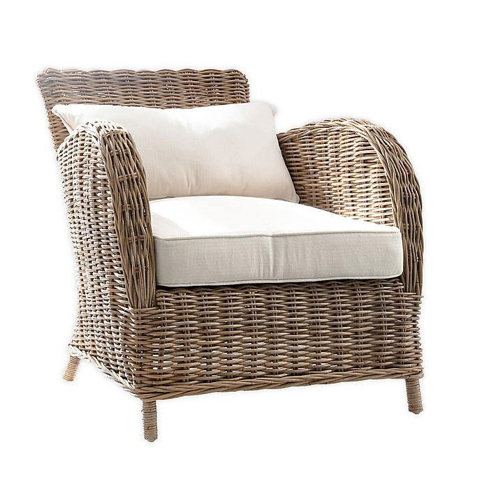 Alternate image 1 for Wickerworks Knight Chair with 2 Cushions in Natural Grey