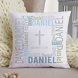 Christening Day Personalized 14-Inch Square Throw Pillow