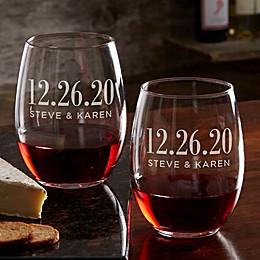 The Big Day Personalized 21 oz. Stemless Wine Glass