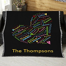 Her Heart Of Love Personalized 56-Inch x 60-Inch Woven Throw