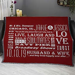 Our Life Together Personalized 56-Inch x 60-Inch Woven Throw