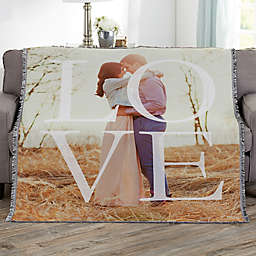 LOVE Personalized 56-Inch x 60-Inch Woven Photo Throw
