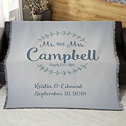 Mr. & Mrs. Personalized Wedding & Anniversary 50-Inch x 60-Inch Woven Throw