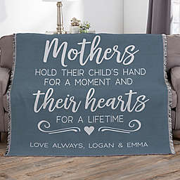Mothers Hold Their Child Personalized 56-Inch x 60-Inch Woven Throw
