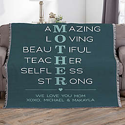 Mother Acronym Personalized 56-Inch x 60-Inch Woven Throw