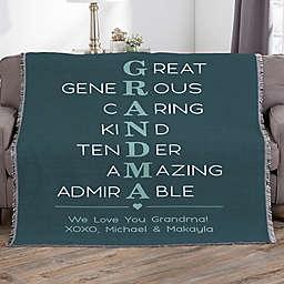 Grandma Acronym Personalized 56-Inch x 60-Inch Woven Throw