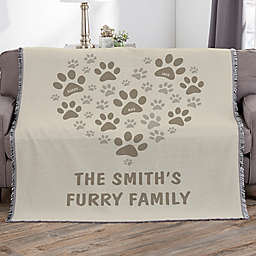 Paws On My Heart Personalized 56-Inch x 60-Inch Woven Throw
