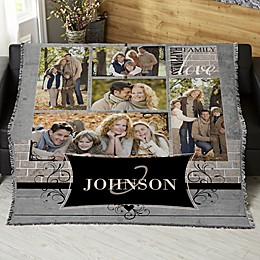 Family Memories Personalized 56-Inch x 60-Inch Woven Throw Photo Blanket