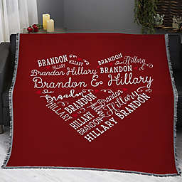 Loving Heart Personalized 56-Inch x 60-Inch Woven Throw