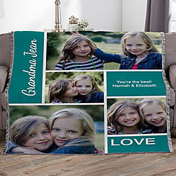 Family Collage Personalized 56-Inch x 60-Inch Woven Throw Photo Blanket