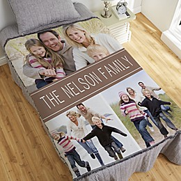Family Photo Collage Personalized 56-Inch x 60-Inch Woven Throw Blanket