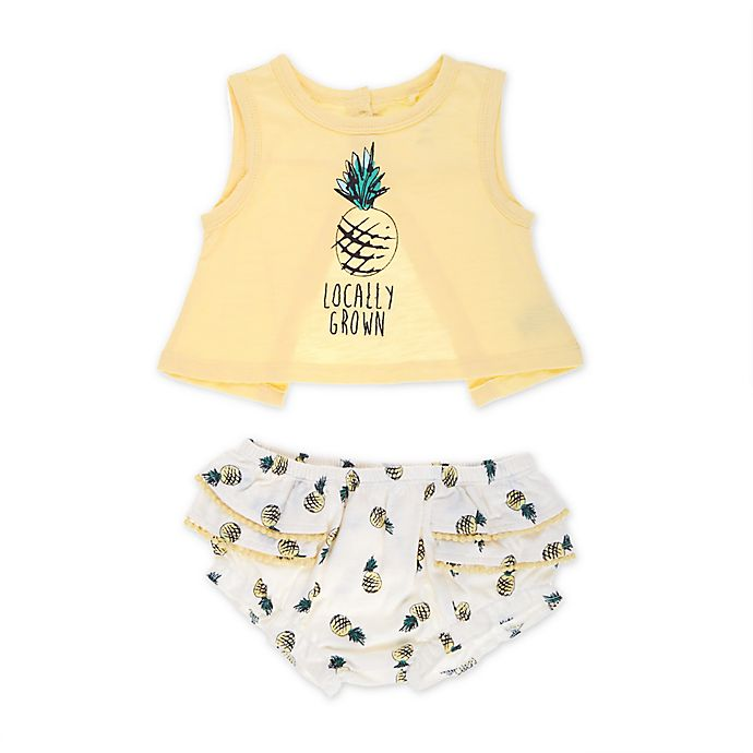 Alternate image 1 for Jessica Simpson Size 18M 2-Piece Pineapple Tank and Bloomer Set in Yellow