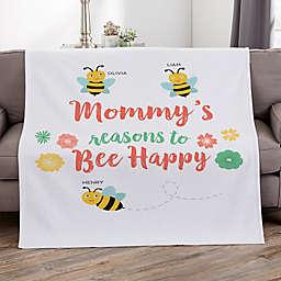 Bee Happy Personalized 50-Inch x 60-Inch Sweatshirt Blanket