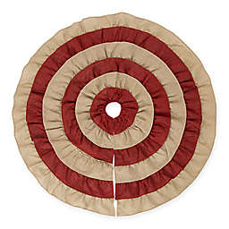 Glitzhome 48-Inch Faux Burlap Tree Skirt in Natural/Red