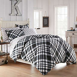Poppy & Fritz® Poppys Plaid Twin Duvet Cover Set in Black/White