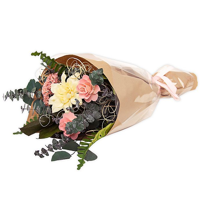 Alternate image 1 for Bee & Willow™ Home Artificial White Mum and Pink Rose Bouquet