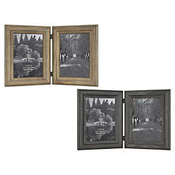 Bee & Willow™ Home Rustic Wood 2-Photo 5-Inch x 7-Inch Hinged Picture Frame in White
