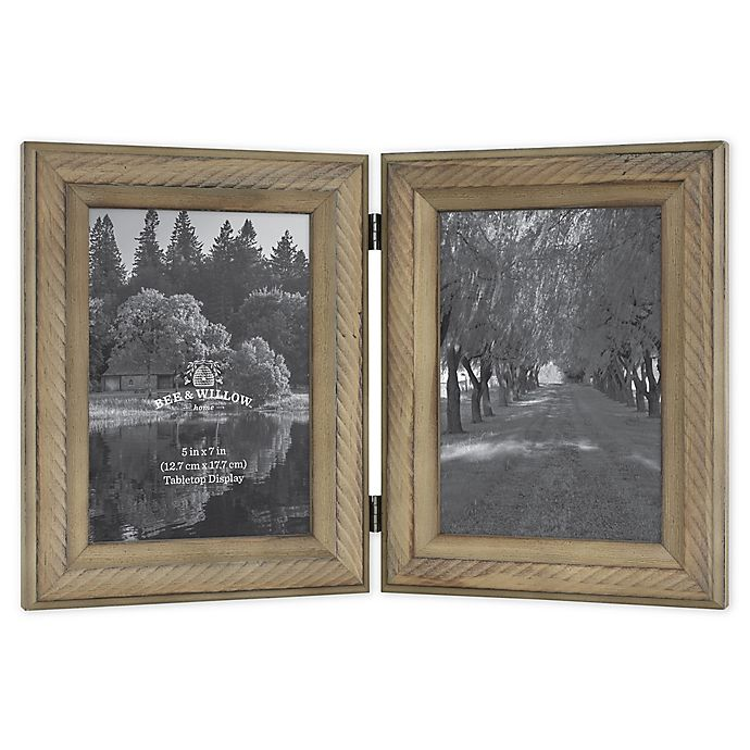 Alternate image 1 for Bee & Willow™ Home 2-Photo 5-Inch x 7-Inch Hinged Picture Frame in Light Chocolate