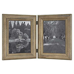 Bee & Willow™ 2-Photo 5-Inch x 7-Inch Hinged Picture Frame in Light Chocolate