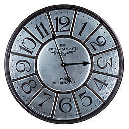 Crystal Art Vintage Hotel Westminster Oversized Metal Round Wall Clock 26-Inch in Silver