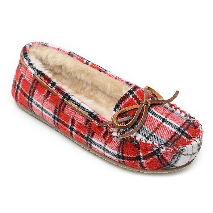 Alternate image 1 for Minnetonka® Cally Plaid Women's Slippers in Red