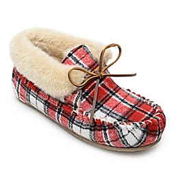 Minnetonka® Chrissy Plaid Women's Slippers in Red