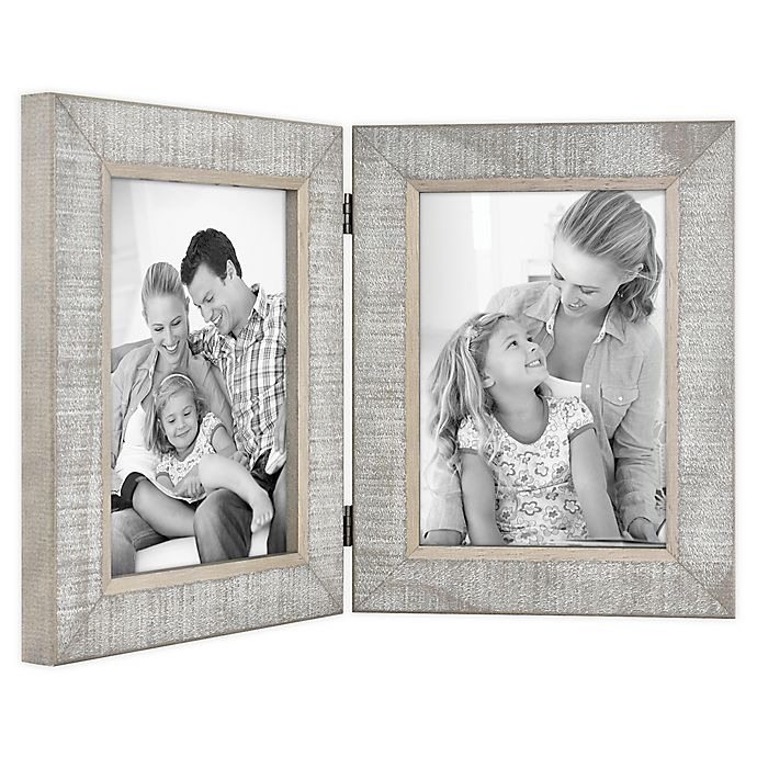 Alternate image 1 for Bee & Willow™ Home 2-Photo Hinged Picture Frame in Grey