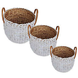 One Kings Lane Open House™ Water Hyacinth Basket in White