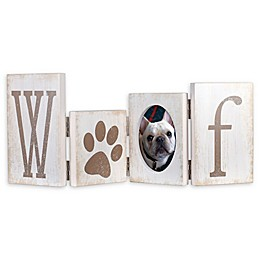 Malden® Hinged Woof Letters Picture Frame in Distressed White