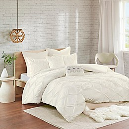 Urban Habitat Talia 7-Piece Elastic Embroidered Chambray Duvet Set