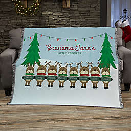 Reindeer Family Character Personalized 56-Inch x 60-Inch Woven Throw
