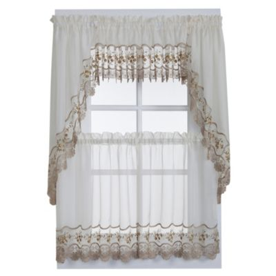 Vintage Sheer Window Curtain Swag Valance Pair In Ecru