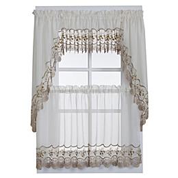 Vintage Sheer Window Curtain Valance in Ecru/Gold