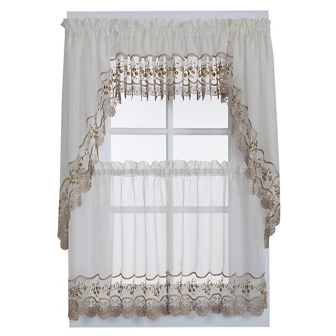 Alternate image 1 for Vintage Sheer Window Curtain Tier Pairs in Ecru/Gold