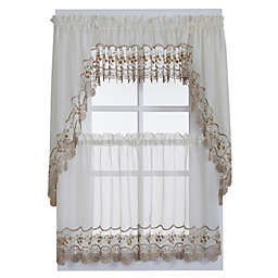 Vintage Sheer Window Curtain Tier Pairs and Valances in Ecru/Gold