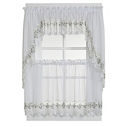 Vintage Sheer Window Curtain Swag Valance Pairs in White/Blue