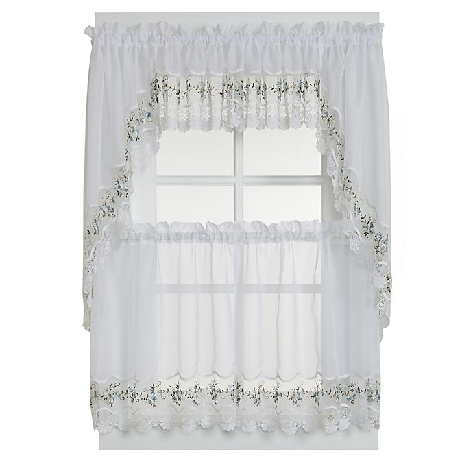 Alternate image 1 for Vintage Sheer 24-Inch Window Curtain Tier Pairs in White/Blue