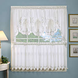 Forget-Me-Not Fan Valance in White/Blue