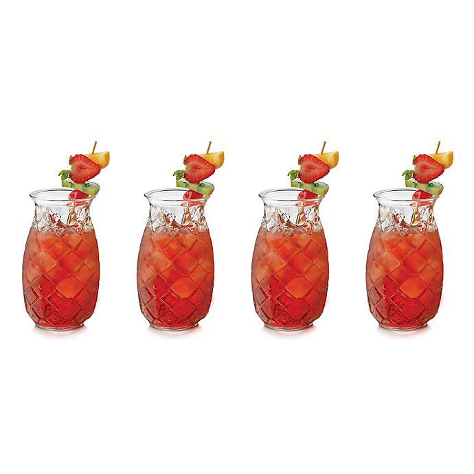 Alternate image 1 for Libbey® Glass Tiki Pineapple Glasses (Set of 4)