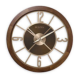 Bulova 26-Inch Indoor/Outdoor Wall Clock in Brown with Bluetooth