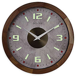 Bulova Indoor/Outdoor 16-Inch Wall Clock in Brown with Bluetooth