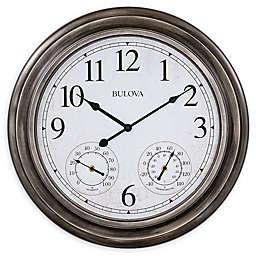 Bulova Block Island Round Indoor/Outdoor 20-Inch Wall Clock in Silver