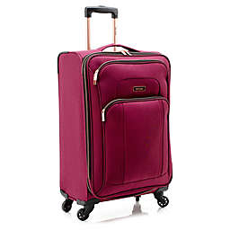 Kensie Emma 24-Inch Softside Spinner Checked Luggage in Red/Gold