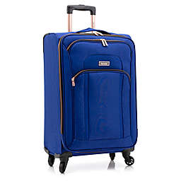 Kensie Emma 24-Inch Softside Spinner Checked Luggage in Blue/Gold