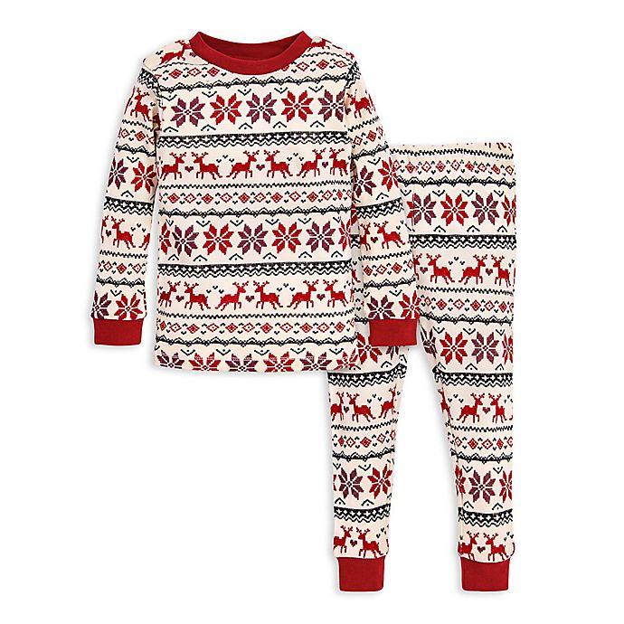 Alternate image 1 for Burt's Bees Baby® 2-Piece Dashing Deer Fair Isle Organic Cotton Toddler Pajama Set